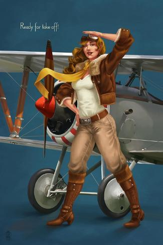 Pinup Girl Aviator - Ready for Take Off! Stampa artistica