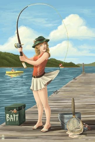 Pinup Girl Fishing on Lake Art Print