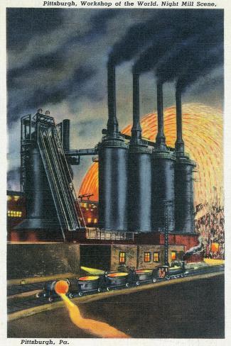 Pittsburgh, Pennsylvania - Steel Mill Scene at Night Art Print