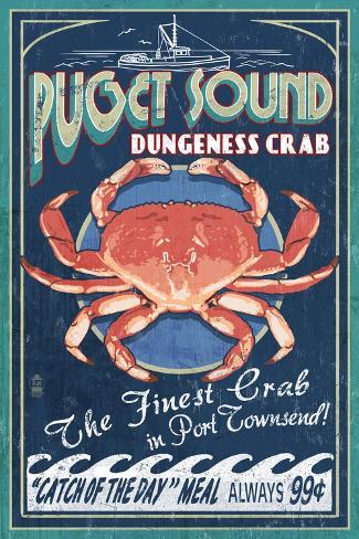Port Townsend, Washington - Dungeness Crab Art Print