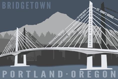 Portland, Oregon - Bridgetown Art Print