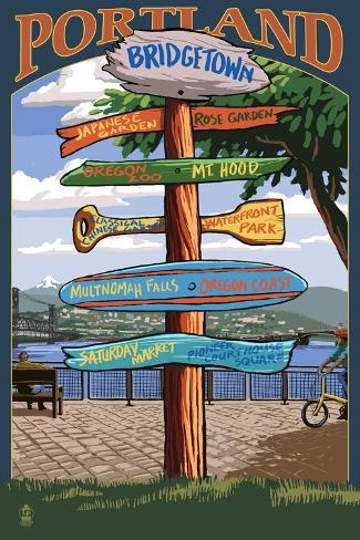Portland, Oregon Destinations Sign Art Print