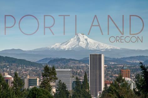 Portland, Oregon - Mt. Hood and City Premium Giclee Print