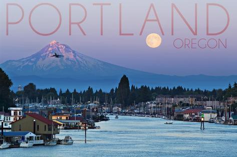 Portland, Oregon - Mt. Hood with Purple Sky and Water Art Print