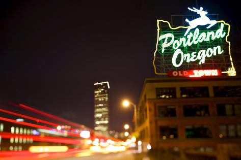 Portland, Oregon - Neon Sign Art Print