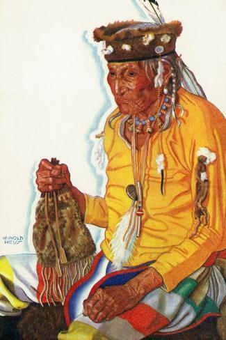 Portrait of Lazy Boy, a Blackfeet Medicine Man Art Print