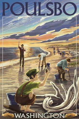 Poulsbo, Washington - Clam Diggers Art Print