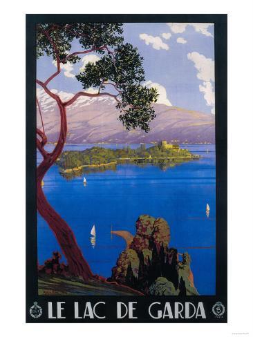 Reklamaffisch för resor till Gardasjön, Italien Konstprint