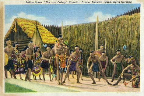 Roanoke Island, North Carolina - The Lost Colony Replication, Indian Scenes Art Print