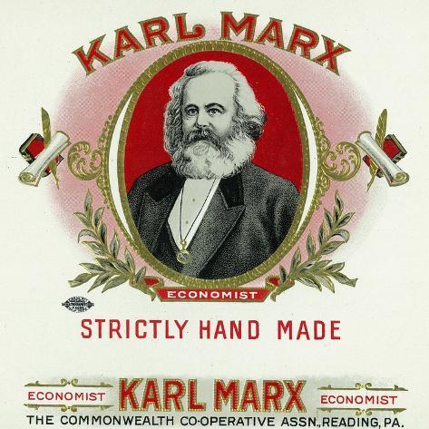 Rótulo da caixa de charuto da marca Karl Marx, Karl Marx Impressão artística