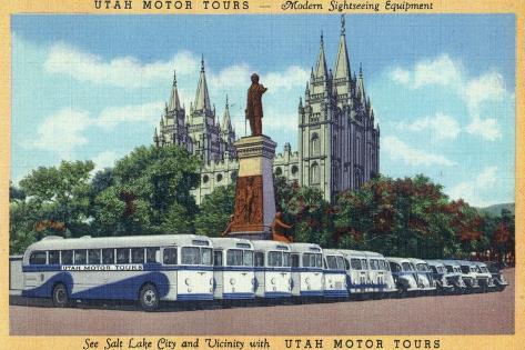 Salt Lake City, Utah - Rows of Tourbuses by the Temple Art Print