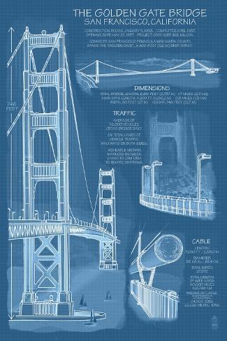 San Francisco, CA, Golden Gate Bridge Technical Blueprint Prints By Lantern  Press At AllPosters.com