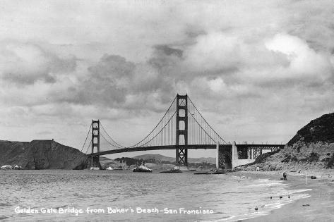 San Francisco, California - Golden Gate Bridge from Baker's Beach Art Print