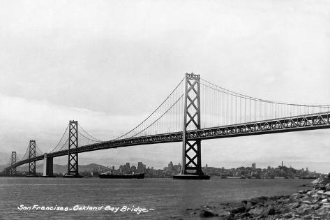 San Francisco, California - Panoramic View of Bay Bridge Art Print