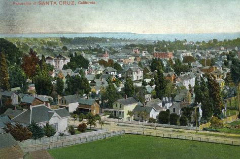 Santa Cruz, California - Panoramic View of Town Art Print