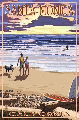 Santa Monica, California - Sunset Beach Scene Art Print