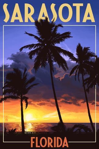 Sarasota, Florida - Palms and Sunset Art Print