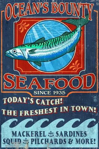 Seafood - Vintage Sign Taidevedos