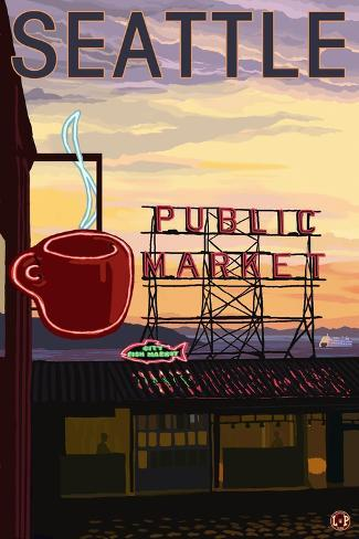 Seattle, Washington - Pike Place Market Sign and Water View Art Print