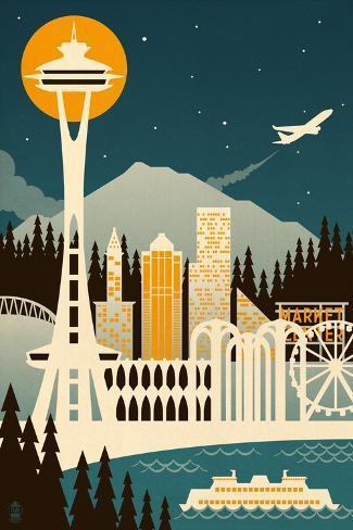 Seattle, Washington - Retro Skyline (no text) Premium Giclee Print