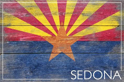 Sedona, Arizona - Arizona State Flag - Barnwood Painting Art Print