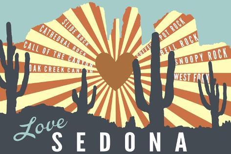 Sedona, Arizona - Cathedral Rock and Cactus Art Print