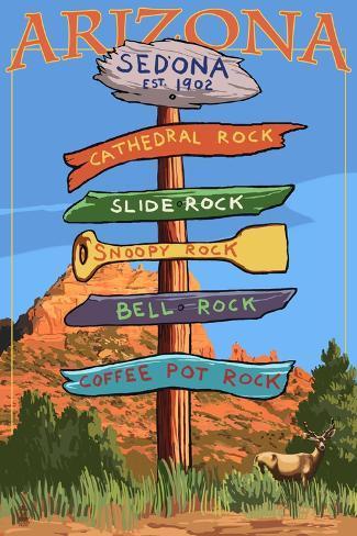 Sedona Arizona - Destination Signpost (Rock List) Art Print