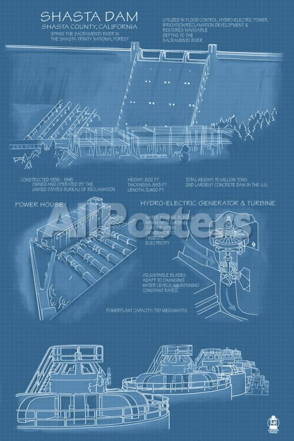 Shasta dam california blueprint prints by lantern press at privacy preference centre malvernweather Gallery