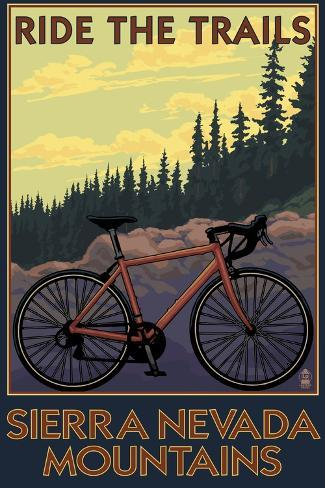 Sierra Nevada Mountains, California - Bicycle on Trails Art Print