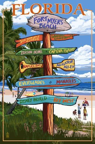 Sign Destinations - Fort Myers Beach, Florida Art Print