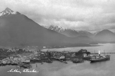 Sitka, Alaska - Aerial Panoramic View of Town Art Print