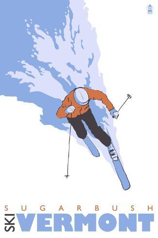 Sugarbush, Vermont, Stylized Skier Art Print