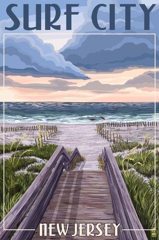 Surf City New Jersey Beach Boardwalk Scene Prints By Lantern