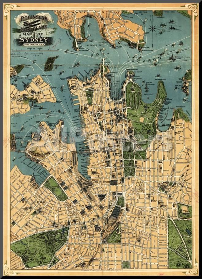 Sydney Australia Map City.Sydney Australia Panoramic Map Mounted Print By Lantern Press At
