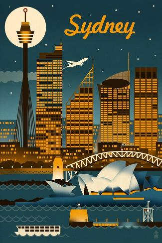 Sydney, Australia - Retro Skyline Art Print