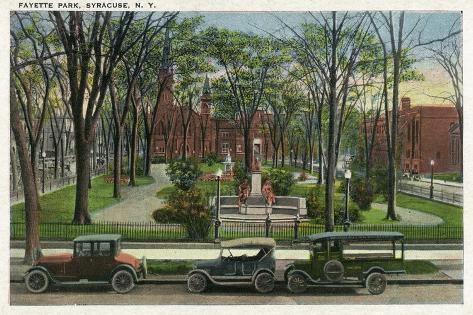 Syracuse, New York - Cars Parked around Fayette Park Art Print