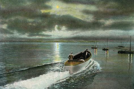 Syracuse, New York - Moonlight Boatride on Onondaga Lake Art Print