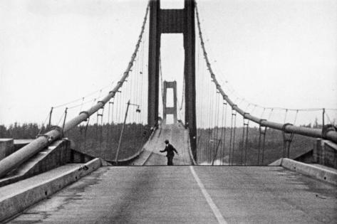 Tacoma, Washington - November 7, 1940 - Tacoma Narrows Bridge - Man on Bridge Art Print