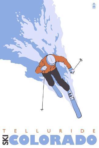 Telluride, Colorado, Stylized Skier Art Print