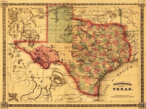 Texas - Panoramic Map Art Print