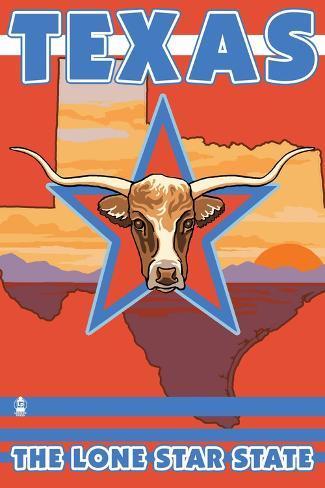 Texas, The Lone Star State, Longhorn Bull Art Print