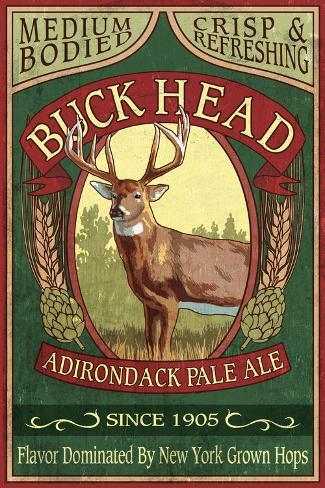 The Adirondacks, New York State - Buck Head Ale Art Print