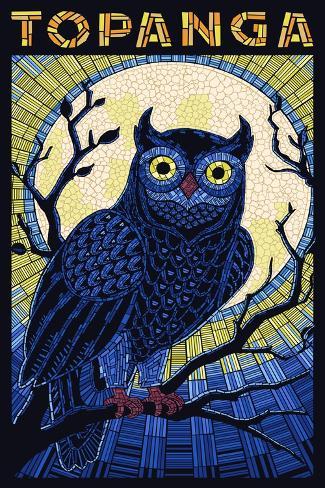 Topanga, California - Owl - Paper Mosaic Art Print