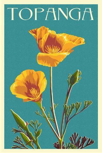 Topanga, California - Poppy - Letterpress Art Print