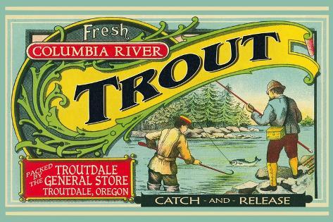 Troutdale, Oregon Trout Label Art Print