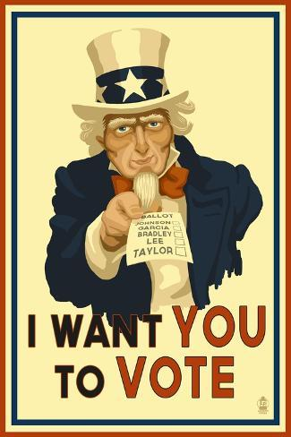 Uncle Sam - I Want You to Vote - Political Stampa artistica