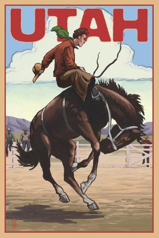 Utah - Bronco Bucking Art Print