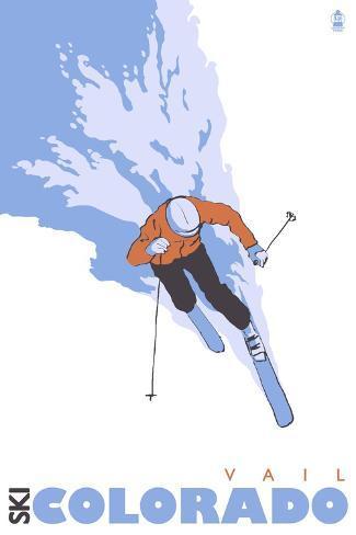 Vail, Colorado, Stylized Skier Art Print