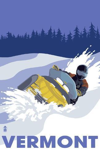 Vermont, Snowmobile Scene Art Print