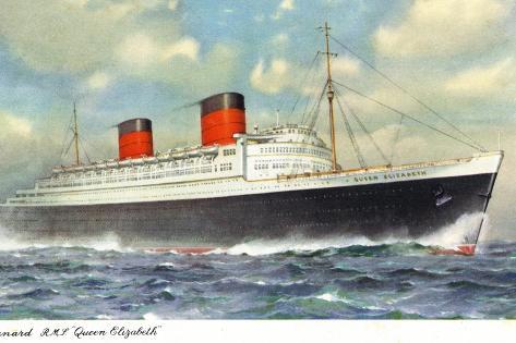 View of Cunard Ocean Liner Queen Elizabeth Art Print